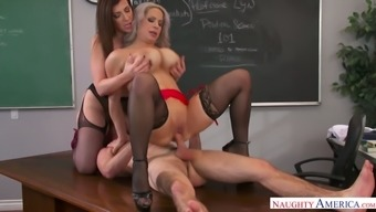 Two sex-hungry teachers lick each others pussies and fuck one student