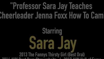 Professor Sara Jay Teaches Cheerleader Jenna Foxx How To Cam