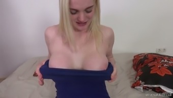 Delicious well stacked blonde Carly Rae Summers takes cumshots on hairy muff