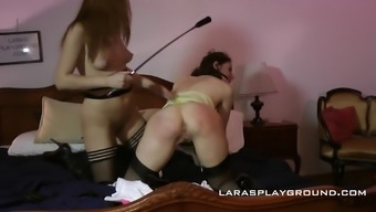 Kinky submissive milf spanked and toyed by her mistress