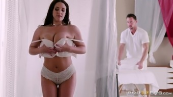 When Angela White is on the massage table, he just can't resist