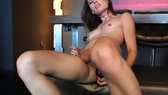 Feisty tranny slut Korra Del Rio has a sexy face and she loves fapping a lot