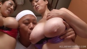 Marvelous Asian pornstars with big tits get slammed in a ffm threesome action