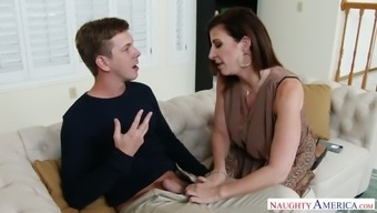 A bit shy dude gets finally lured by charming Sara Jay who gonna fuck today