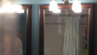 Set hidden cam on blonde teen bathroom