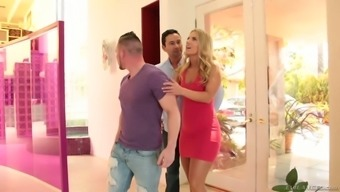 Bisexual dudes suck each others dicks and fuck slutty blonde Candice Dare