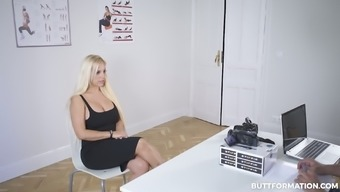 Blondie Fesser demonstrates her really giant titties during the interview
