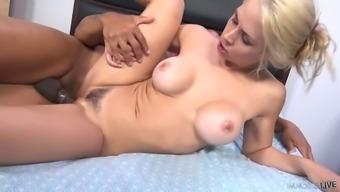 Big tittied blond chick Sarah Vandella is having crazy interracial sex