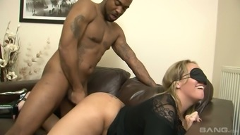 Blindfolded white hottie Ashley Rider sucks delicious black cock