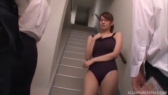 Asian babe sucking off multiple men and getting cum on her glasses