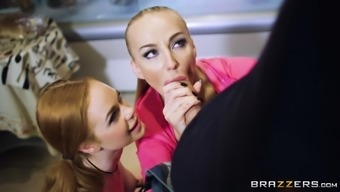 Kayla Green and Ella Hughes team up for a threesome in a kitchen