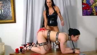 Latex mistress with chained up sub
