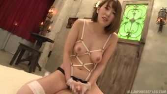 Hatano Yui enjoys masturbating with a sex toy in front of a horny guy
