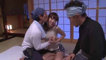 Naughty fellows attack Yui Hatano for a kinky three way
