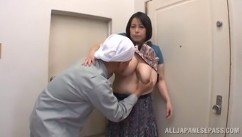 Mature Asian cougar having her big tits squeezed before receiving cum on her tits in POV