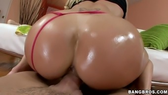 brandi love plants her oiled butt on his dick and rides it