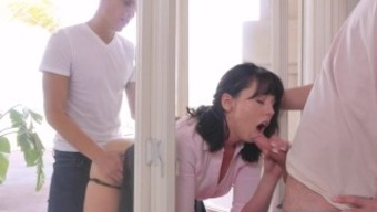 Step Mom Amber Chase Gets Stuck Both Sons Help