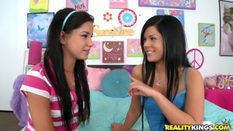 Teen brunettes are nailed by a big cock in a threesome