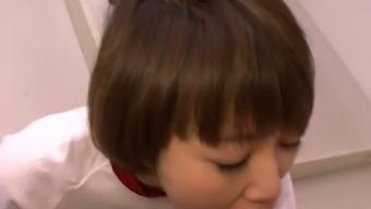 Naughty Asian teen Akina Hara measures stiff cock of her teacher and then sucks it