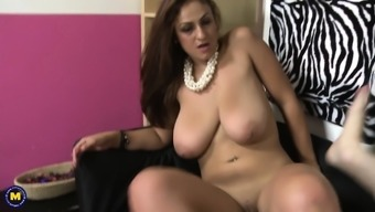 Busty Wife and Mom Rides Young Big Cock
