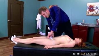 Huge dick doctor ass fucks his voluptuous redheaded patient