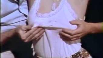 Old style bondage game with cute white cowgirl and two men