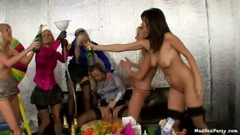 Thrilling drunk orgy with one hunky dude and group of tipsy babes