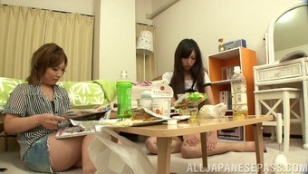 Japanese husband cheats right next to his wife and fucks a cutie