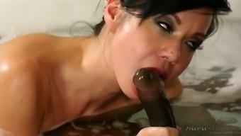 Busty Asian fuck doll Kimmy Lee blows BBC when taking bath