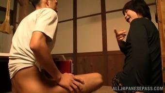 Wistful mature amateur Asian delivering a sensational hand job then gives a salacious blowjob
