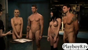 Two glamour women foursome with nasty men in the jailcell