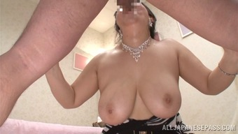 He fucks her natural tits then cums in her wet mouth