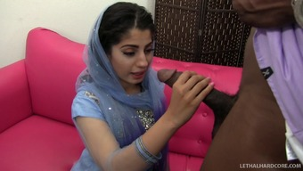 Gorgeous Indian slut with a hot ass sucking a massive black cock