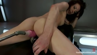 Aiden Ashley gets stuffed by experimental fucking machines