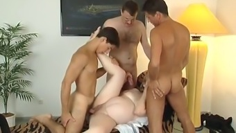 Pregnant MILF goes crazy with three horny friends