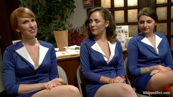 Sexy chicks in uniform gets bonded and toyed deep