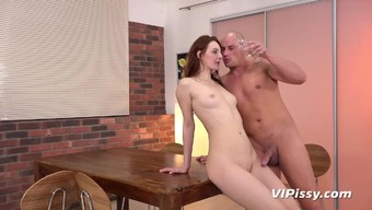 Naughty Ariadna treats her man to hardcore piss play