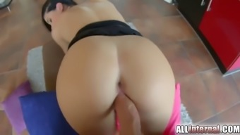 April Blue gets her juicy pussy creampied real nice