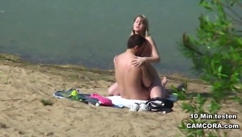 German Young couple voyeur at fuck on beach from boltenhagen