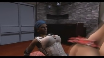Animated horny shemales have hardcore group sex with each other