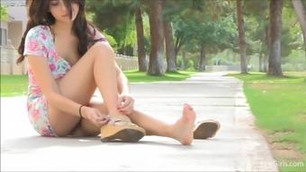 Teen brunett takes her dress off in public