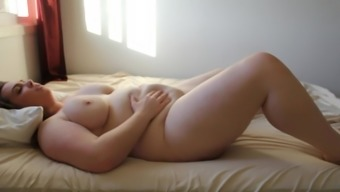 cute girl mastrubates and play with belly