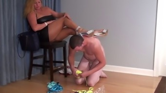 Male sex slave on his knees sucking her sexy foot
