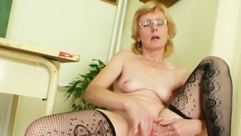 Blonde mature posing during rough solo