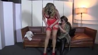 BigTitted woman in RedLingerie TiedUp