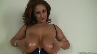 Huge-breasted mom gives a blowjob and a titjob and gets facialed