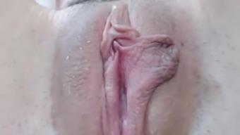 Hairy wet pussy closeup