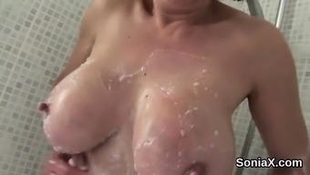 Unfaithful english milf lady sonia showcases her big natural