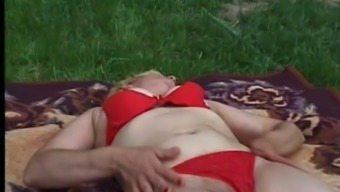 Solo Outdoor Masturbation By Extreme Mature Blonde