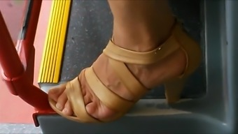 Candid Sandals In Bus And Train